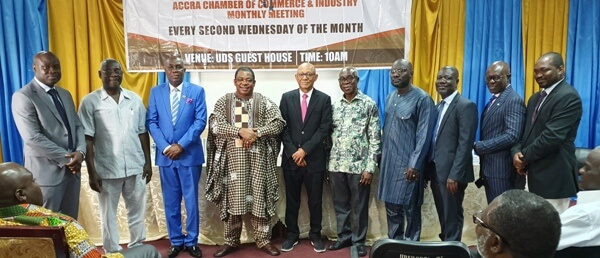 Mr Mark Badu-Aboagye (left), and Mr Saeed Musah-Khaleepha(right) with the other executives of GNCCI and the Centre